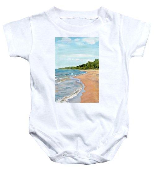 Peaceful Beach At Pier Cove Baby Onesie