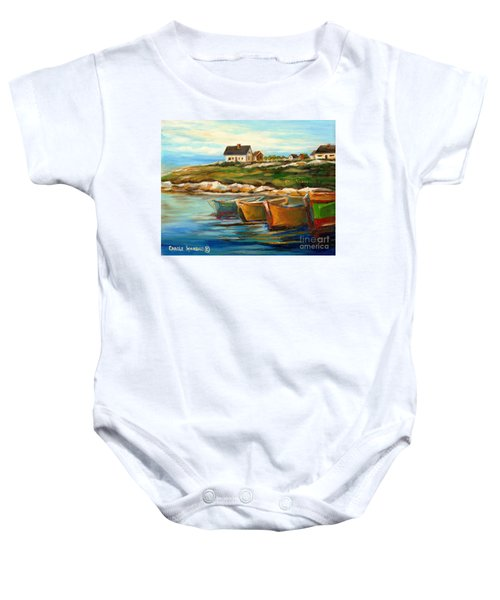 Peggys Cove With Fishing Boats Baby Onesie