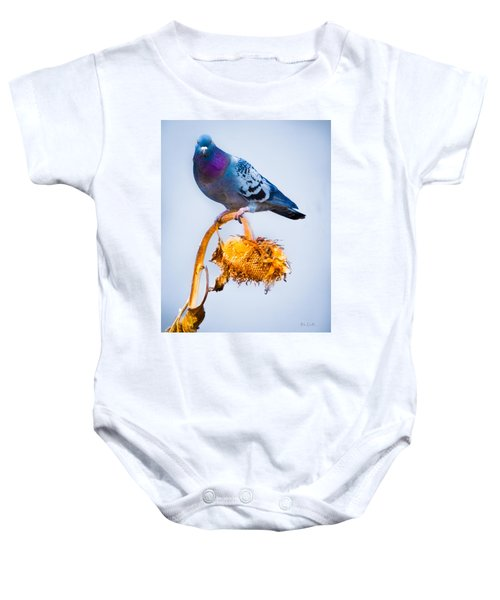 Pigeon On Sunflower Baby Onesie