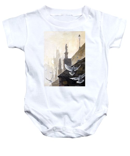 Prague Morning On The Charles Bridge  Baby Onesie