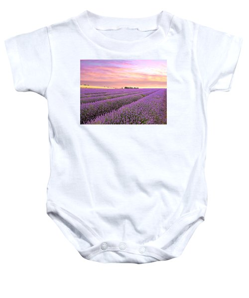 Purple Haze - Lavender Field At Sunrise Baby Onesie