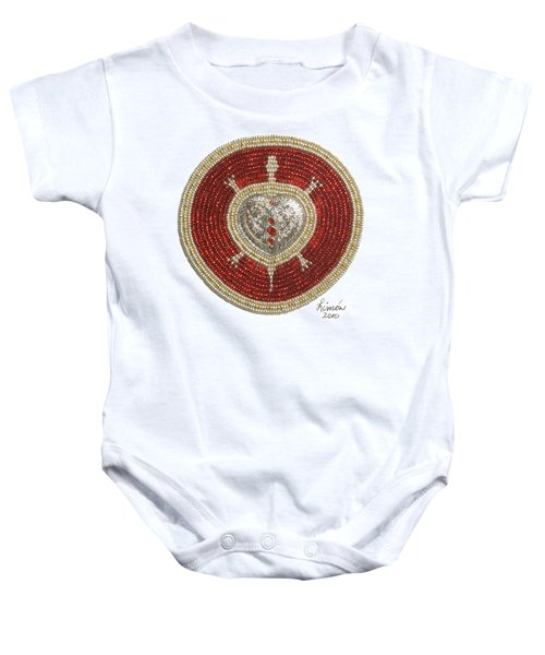 Silver And Gold Heart Turtle Baby Onesie