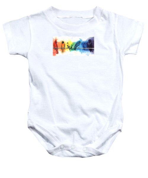 Rainbow Birds Baby Onesie