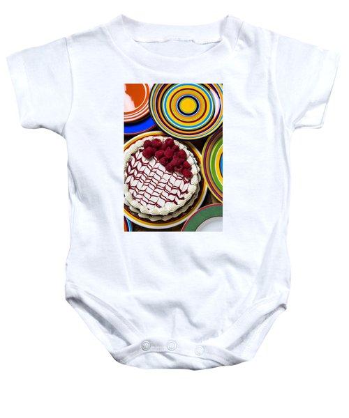 Raspberry Cake Baby Onesie by Garry Gay