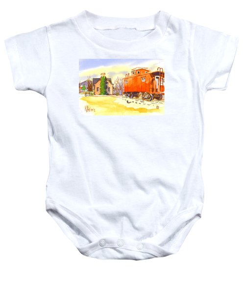 Red Caboose At Whistle Junction Ironton Missouri Baby Onesie
