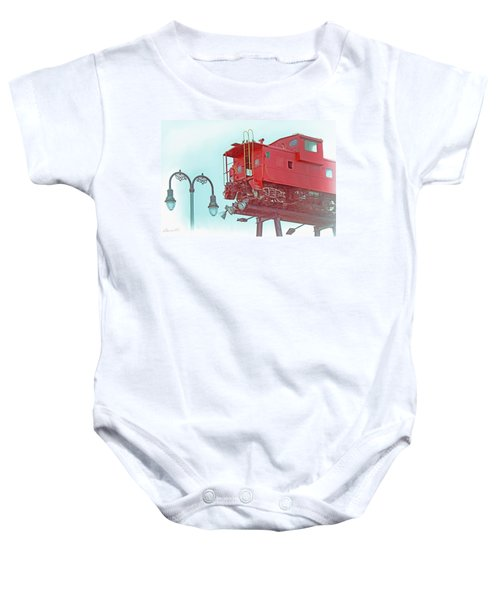 Red Caboose In The Sky2 Baby Onesie