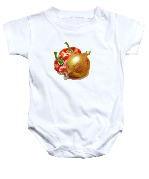 Red Peppers And Onion Baby Onesie