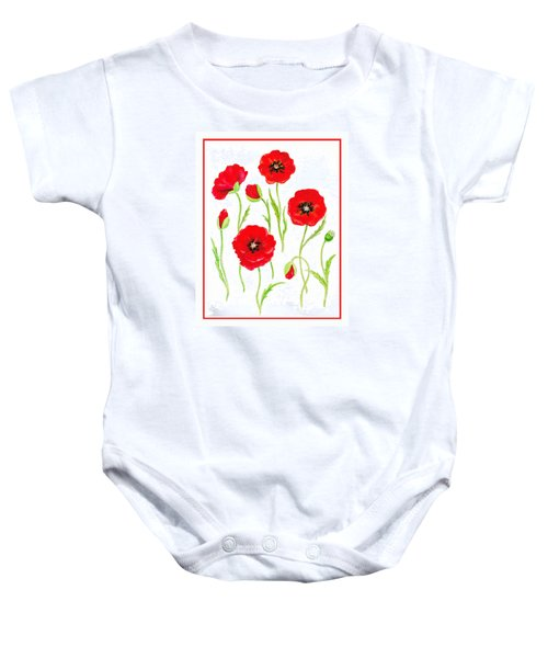 Red Poppies Baby Onesie