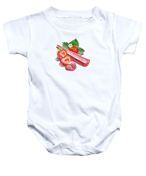 Baby Onesie featuring the painting Rhubarb Strawberry by Irina Sztukowski