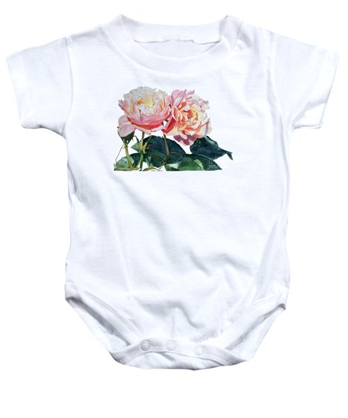 Pink And Yellow Rose Anne Baby Onesie
