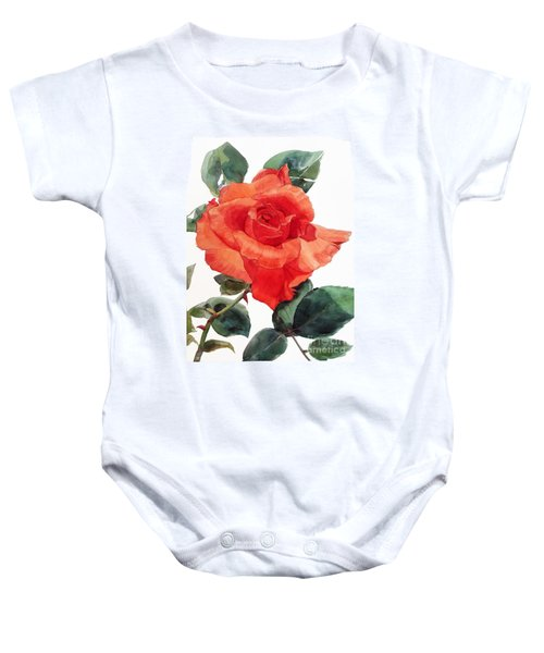 Watercolor Of A Single Red Rose I Call Red Rose Filip Baby Onesie