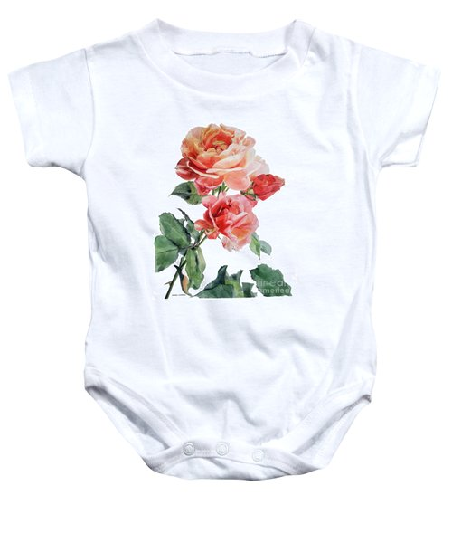 Watercolor Of Red Roses On A Stem I Call Rose Maurice Corens Baby Onesie