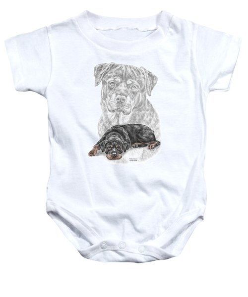 Rottie Charm - Rottweiler Dog Print With Color Baby Onesie