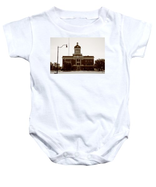Baby Onesie featuring the photograph Route 66 - Beckham County Courthouse by Frank Romeo