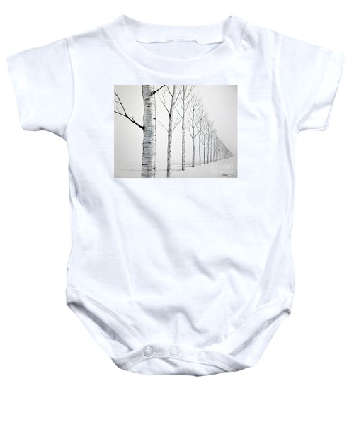 Row Of Birch Trees In The Snow Baby Onesie