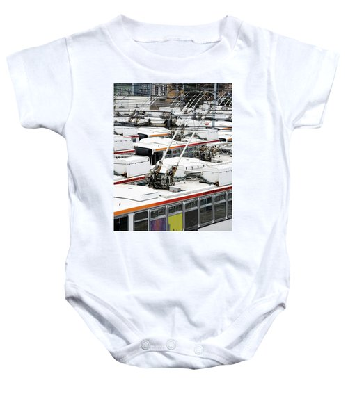 Rows Of Electric Powered Buses, San Baby Onesie
