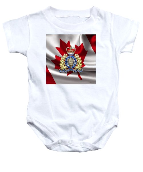 Royal Canadian Mounted Police - Rcmp Badge Over Waving Flag Baby Onesie by Serge Averbukh