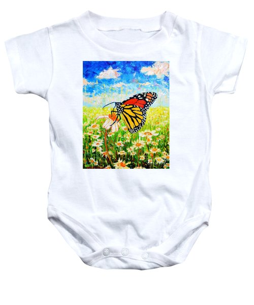 Royal Monarch Butterfly In Daisies Baby Onesie