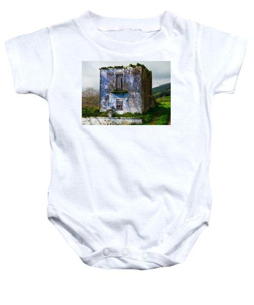 Ruins Of House Painted Blue Baby Onesie