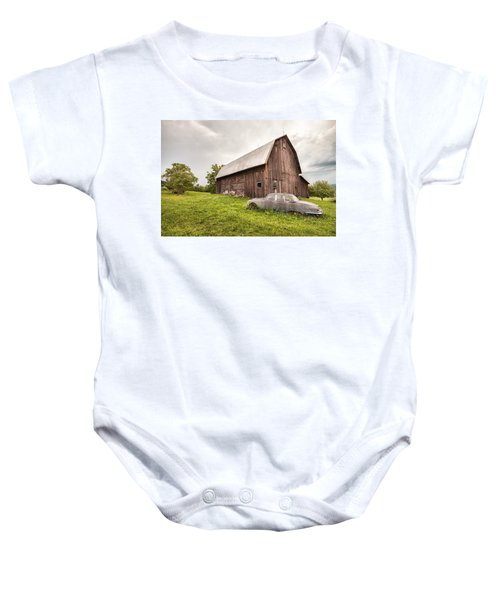 Rustic Art - Old Car And Barn Baby Onesie