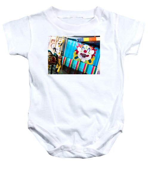 Baby Onesie featuring the photograph Santa Cruz Boardwalk Carousel by Shane Kelly