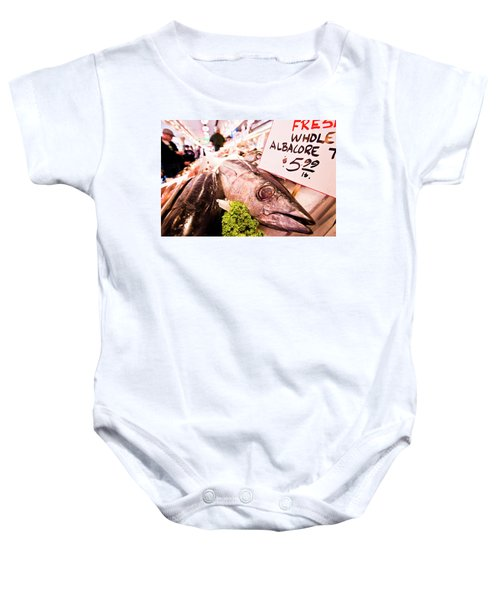 Seafood On Display At Pike Place Market Baby Onesie