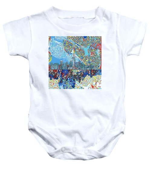 Seattle Skyline Abstract 7 Baby Onesie