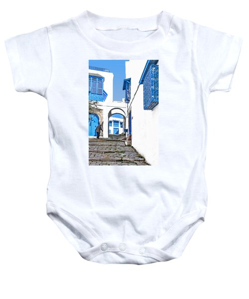 Old Man On Stairs Baby Onesie