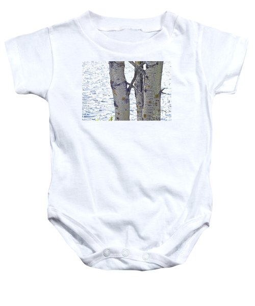 Silver Birch Trees At A Sunny Lake Baby Onesie