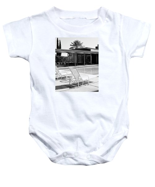 Sinatra Pool Bw Palm Springs Baby Onesie by William Dey