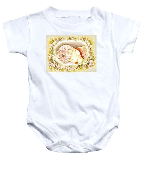 Baby Onesie featuring the painting Sleeping Baby Vintage Dreams by Irina Sztukowski