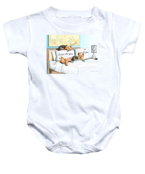 Sleeps With Yorkies Baby Onesie