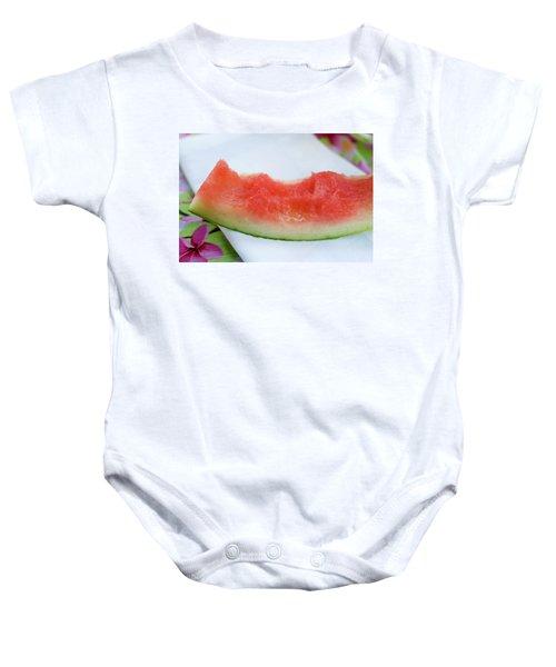 Slice Of Watermelon With Bites Taken On Fabric Napkin Baby Onesie