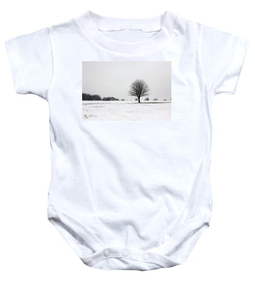 Snow On Epsom Downs Surrey England Uk Baby Onesie