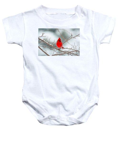 Snowy Cardinal Baby Onesie
