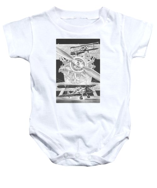 Stearman - Vintage Biplane Aviation Art Baby Onesie