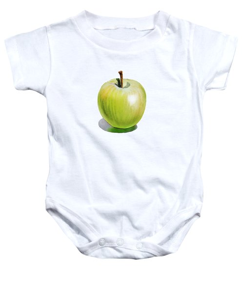 Baby Onesie featuring the painting Sun Kissed Green Apple by Irina Sztukowski
