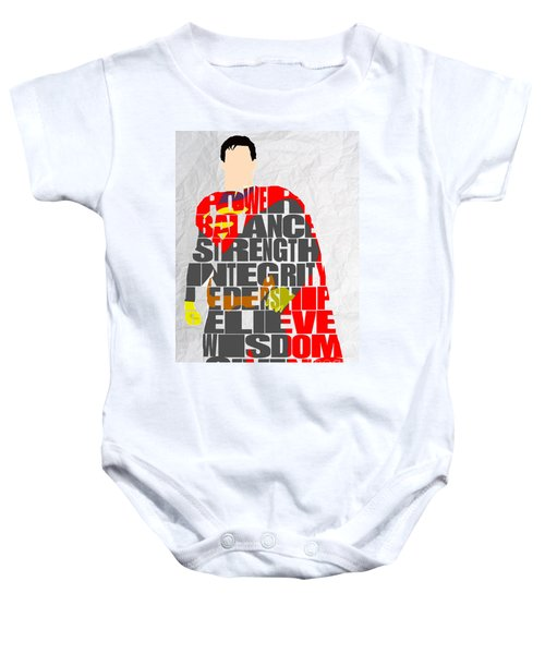 Baby Onesie featuring the mixed media Superman Inspirational Power And Strength Through Words by Marvin Blaine