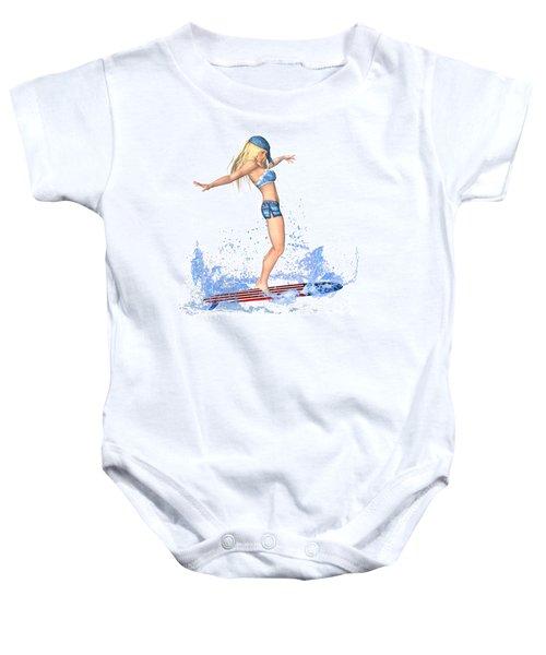 Surfing Girl Baby Onesie