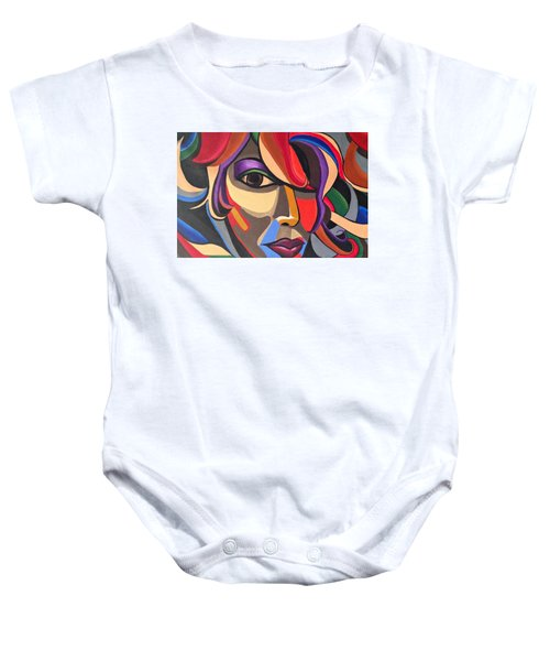 Abstract Woman Art, Abstract Face Art Acrylic Painting Baby Onesie