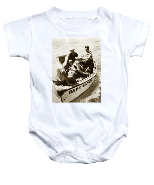 The Baby Flyer With Ed Ricketts And John Steinbeck  In Sea Of Cortez  1940 Baby Onesie
