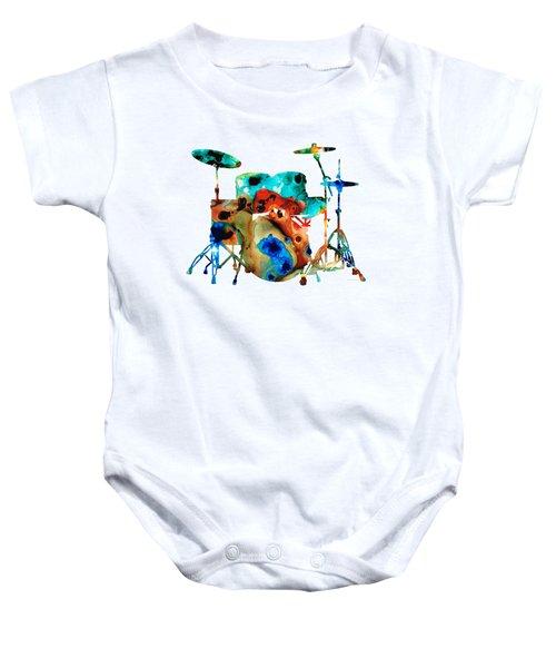 The Drums - Music Art By Sharon Cummings Baby Onesie