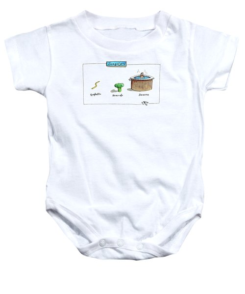 The Labels Beneath Images Of Spaghetti Baby Onesie by Farley Katz