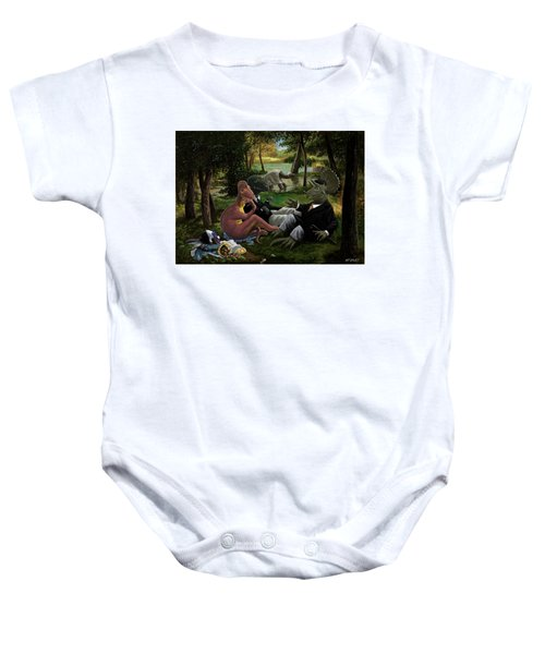 The Luncheon On The Grass With Dinosaurs Baby Onesie