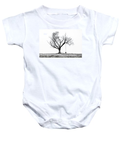 The Playmate - Old Tree And Tire Swing On An Open Field Baby Onesie