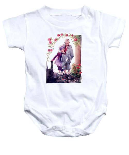 Watercolor Of A Boy And Girl In Their Secret Garden Baby Onesie