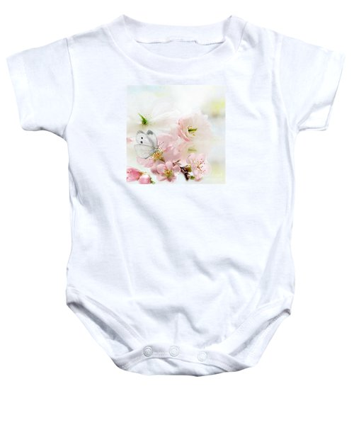 Baby Onesie featuring the mixed media The Silent World Of A Butterfly by Morag Bates