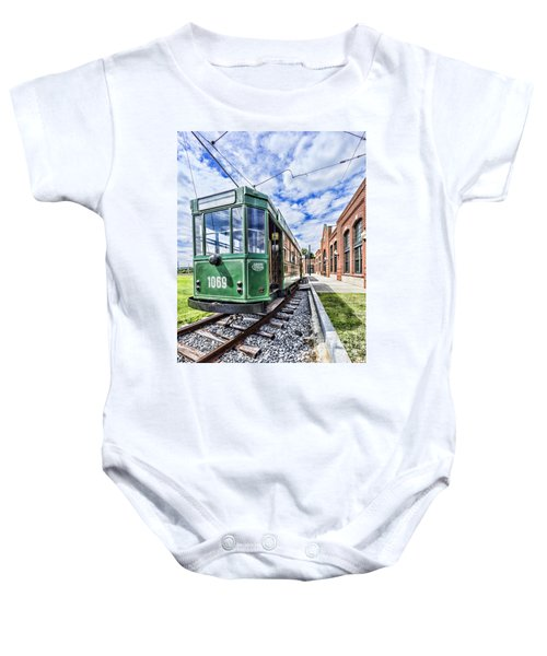 The Stib 1069 Streetcar At The National Capital Trolley Museum I Baby Onesie