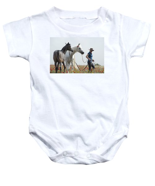 Three At The Poppies' Field... 1 Baby Onesie by Dubi Roman