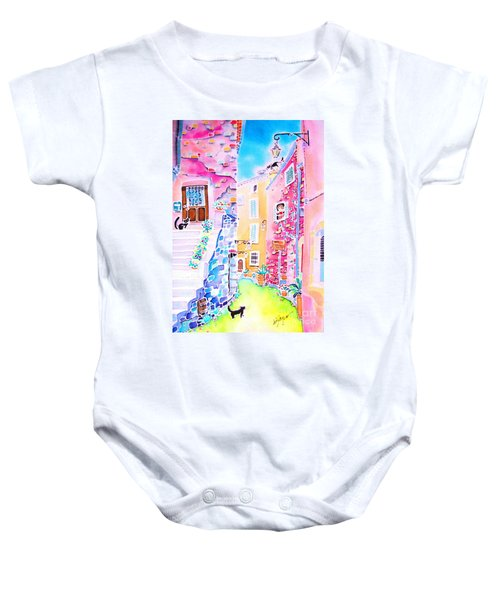 Three Cats In The Alley Baby Onesie